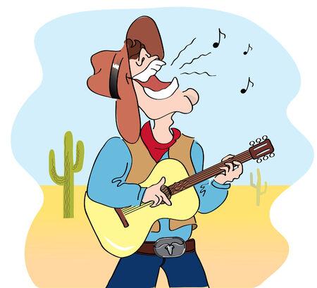 guitarists: singing cowboy.Cartoons image
