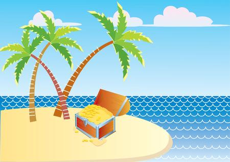 playa caricatura: Pecho de isla y Tesoro de vector Vectores