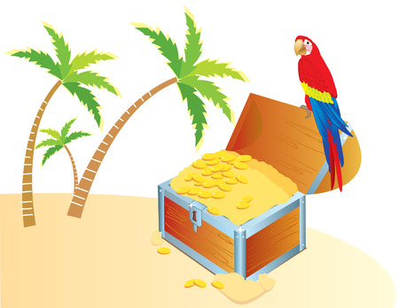 jewel box: Vector treasure chest and parrote