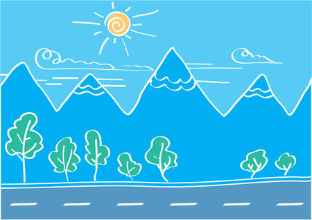 horizon over land: Vector paint of landscape with mountains and road
