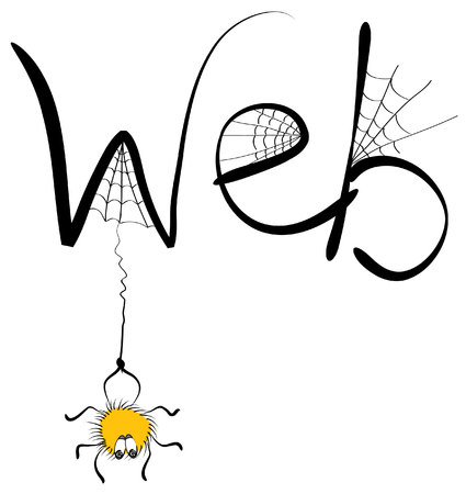 spider cartoon: spider and web on white.