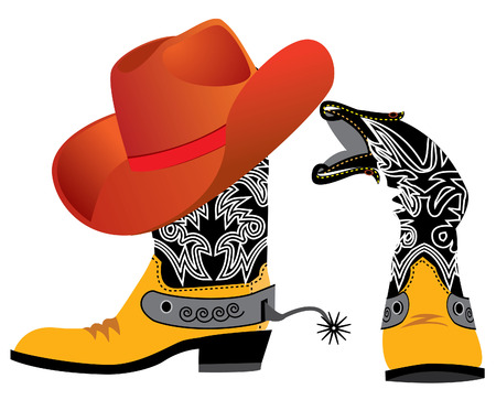 brown leather hat: shoes and hat for cowboy on white. Special clothes Illustration