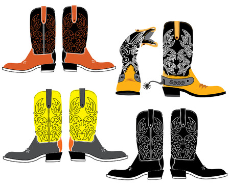 shoes for cowboys on white Stock Vector - 6558076