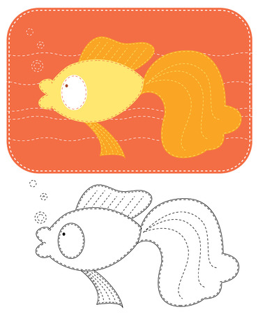 cartoons of gold fish. Color applique for sew Vector