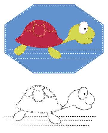 tortuga caricatura: Tortuga de dibujos animados. Bordado de sew