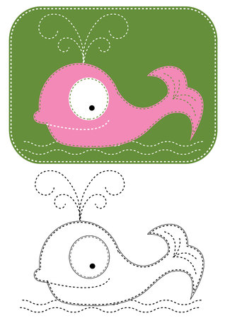 cartoons whale. Color applique for sew Vector