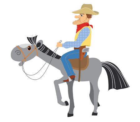 Cowboy and horse on white Vector