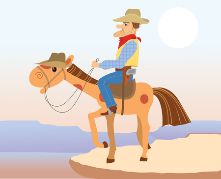 Cowboy and horse . cartoons Illustration