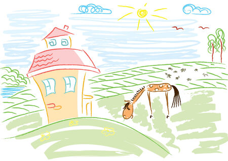 Vector landscape with house and horse in sun day Stock Vector - 6763476