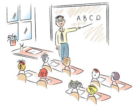 Teacher in classroom .Vector cartoons