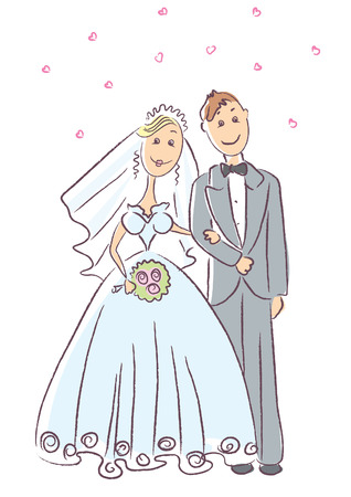nuptials: Wedding.Vector cartoons on white Illustration