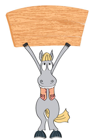 wooden horse: Horse and wood board.BAckground for text Illustration