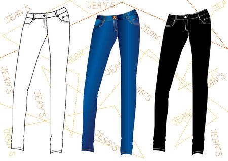 v�tements pli�s: V�tements de design de mode Jeans.Vector Illustration