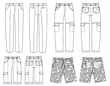 broek voor man.Fashion kleding  Vector Illustratie