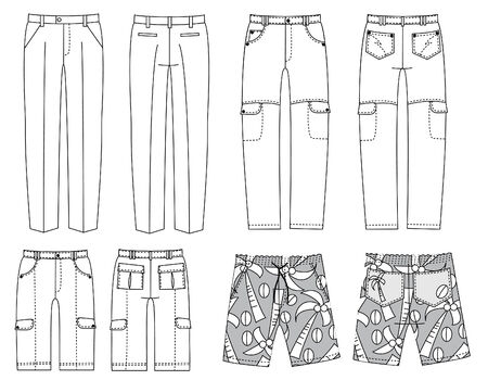 white pants:  pants for man.Fashion clothes Illustration