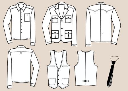white underwear: moda abbigliamento per uomo.  Vettoriali