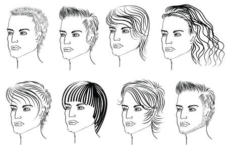 Elementos de peinado para salón con cara. Vec tor retratos de hombre Ilustración de vector