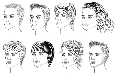 short haircut: Hairstyle elements for salon with face. Vec tor portraits of man