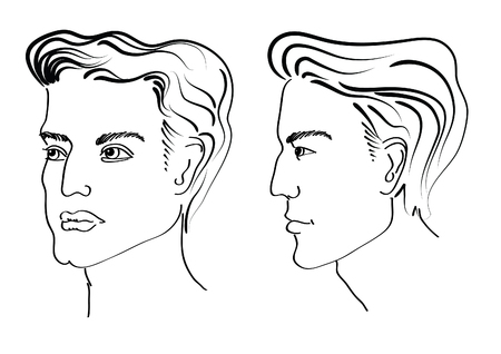 male hair model: Portrait of man. Illustration