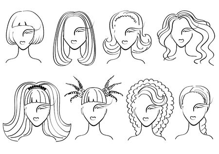 mannequin head: Hairstyle. woman faces for salon