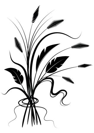 silhouette of flowers on white  Ilustracja