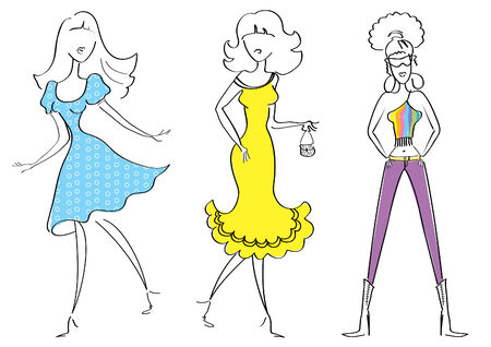 women in fashion clothes on white Vector