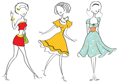 FAshion women in beautiful clothes on white. Vector