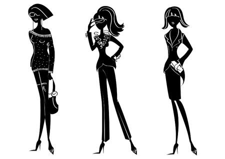 silhouettes de femmes dans les vêtements de mode sur fond blanc