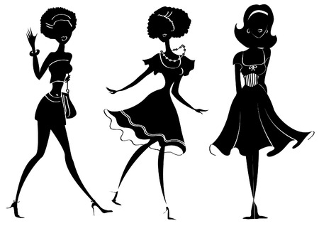 hair black color:  silhouettes of women in fashion clothes on white
