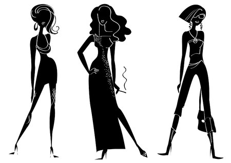 shapely: silhouettes of women in fashion clothes on white
