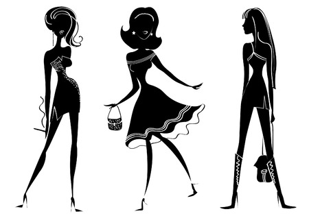 silhouettes of women in fashion clothes on white