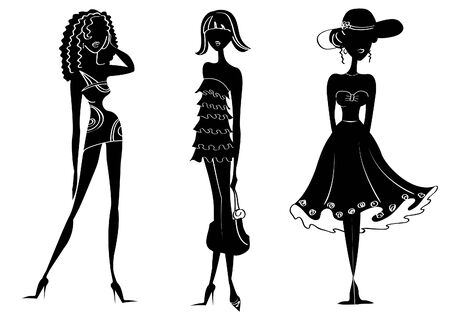 Vector silhouettes of women in fashion clothes on white Stock Vector - 7068817