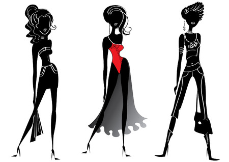 slim women: Vector silhouettes of women in fashion clothes on white