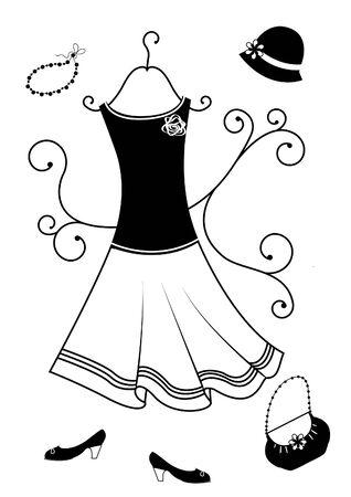 dress coat: Moda abbigliamento per donna. Abito  Vettoriali