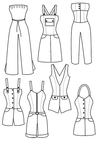 garments: trousers and clothes for women on white.