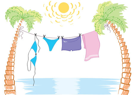 miami: Vacation.Vector summer beach with swimming clothes Illustration