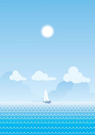 blue ship in sea in summer suny day.