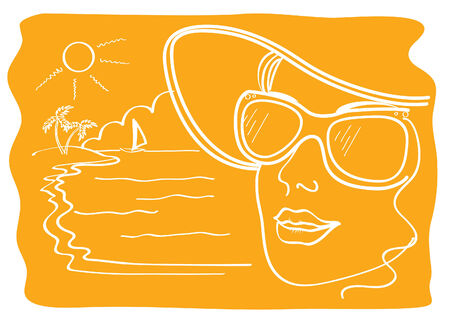 Vacation. summer beach with woman face Vector