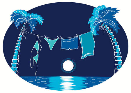 Vacation. summer beach with swimming clothes Vector