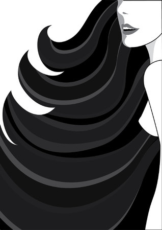 graphic woman with long hair on white for design Vector