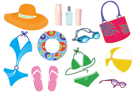 things for summer holiday  for woman on white. Stock Vector - 7291089