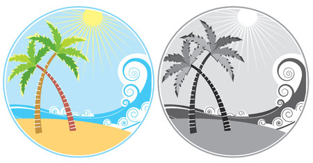Tropical island and sea waves in summer. icons. Vector