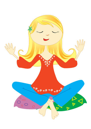 Nice young woman meditation Stock Vector - 7306635