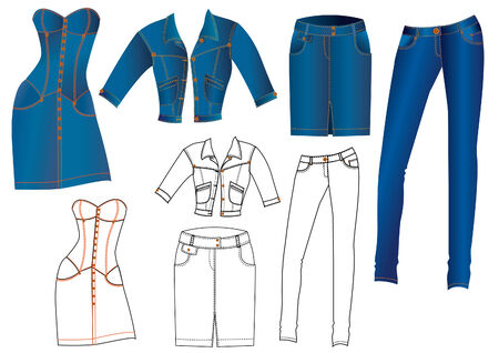 jeans skirt: jeans fashion clothes for women Illustration