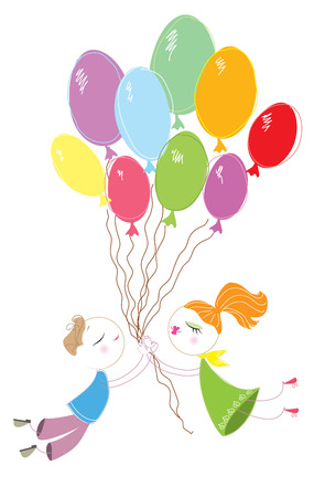 Lovers and ballons in sky Stock Vector - 7306636