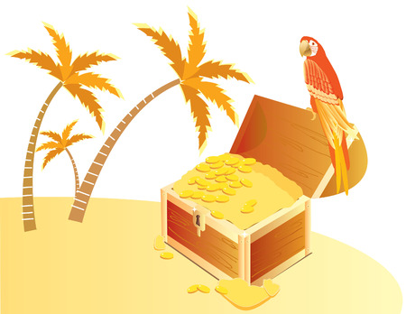 Treasure chest and  parrote on island Vector