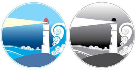lighthouse at night: iconos de faros.