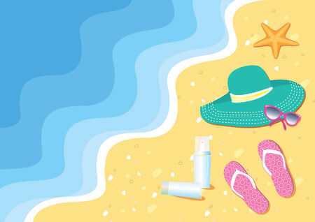 Summer beach and things for swimming Vector