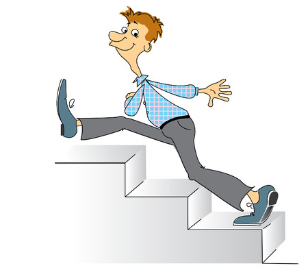 steps to success:  smiling man go to upstair.Comic