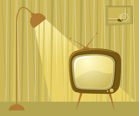Retro room and TV.  Vector